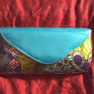Handbags - New Authentic African print large clutch w/ blue